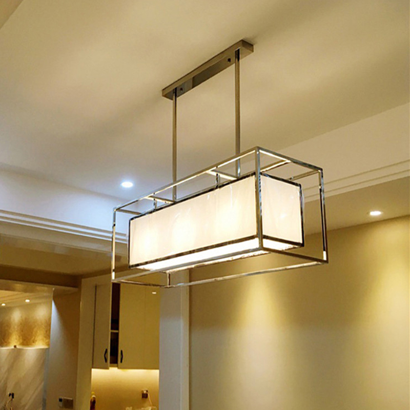 Oblong Rectangle Long Stainless Steel Chandelier Light
