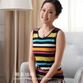 new spring multicolour stripe women's silk vest mulberry silk knitted basic sleeveless vest