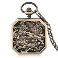 Для мужчин механические карманные часы Изысканный Тигр шаблон случае площади набора Скелет Hollow Роскошный Ретро Стиль стимпанк подарки