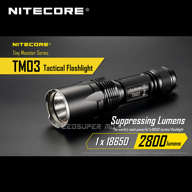 Tiny Monster Series Nitecore TM03 CREE XHP70 LED Tactical Powerful Flashlight 2800 Lumens with Free 18650 Battery Tiny Monster Series Nitecore TM03 CREE XHP70 LED Tactical Powerful Flashlight 2800 Lumens with Free 18650 Battery