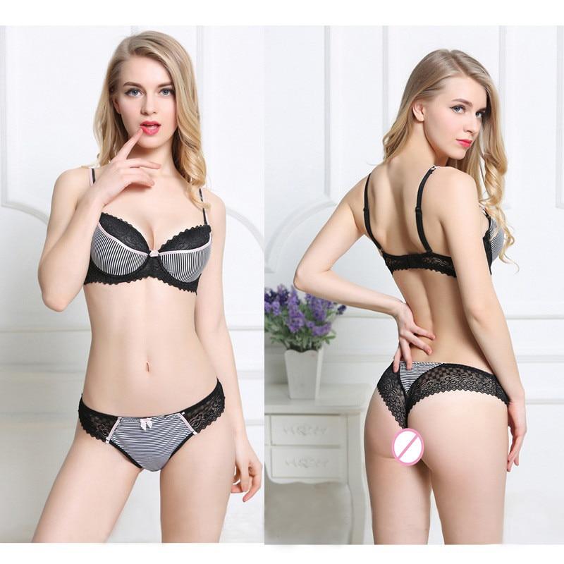 Big Size   Bra     Set   34/75 36/80 38/85 40/90 42 44 C D E cup Striped Lace cueca push up   bra   Women Sexy Lace   Bra   Panty   Sets   Plus Size