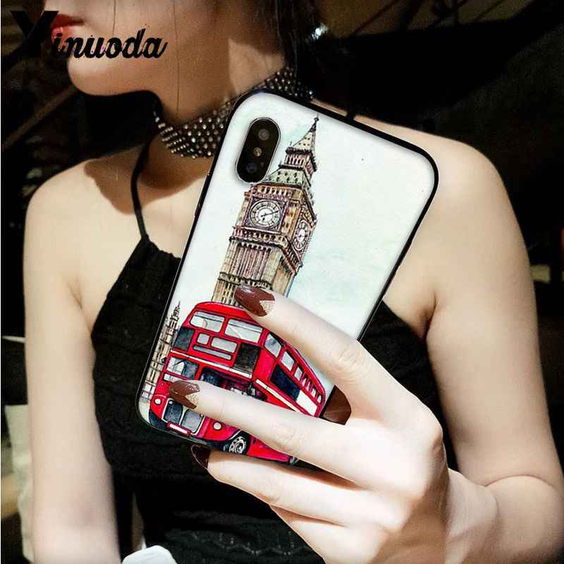 Yinuoda style london bus england telephone vintage british Smart Cover Phone Case for iPhone 8 7 6 6S Plus 5 5S SE XR X XS MAX