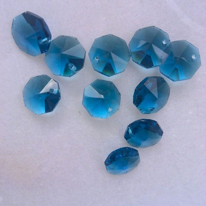 Hearty 1000pcs/lot 14mm Blue Zircon Crystal Octagon Glass Beads In One Hole Free Shipping Lights & Lighting Lighting Accessories Chandelier Lamp Beads Christmas Tree Beads Excellent Quality