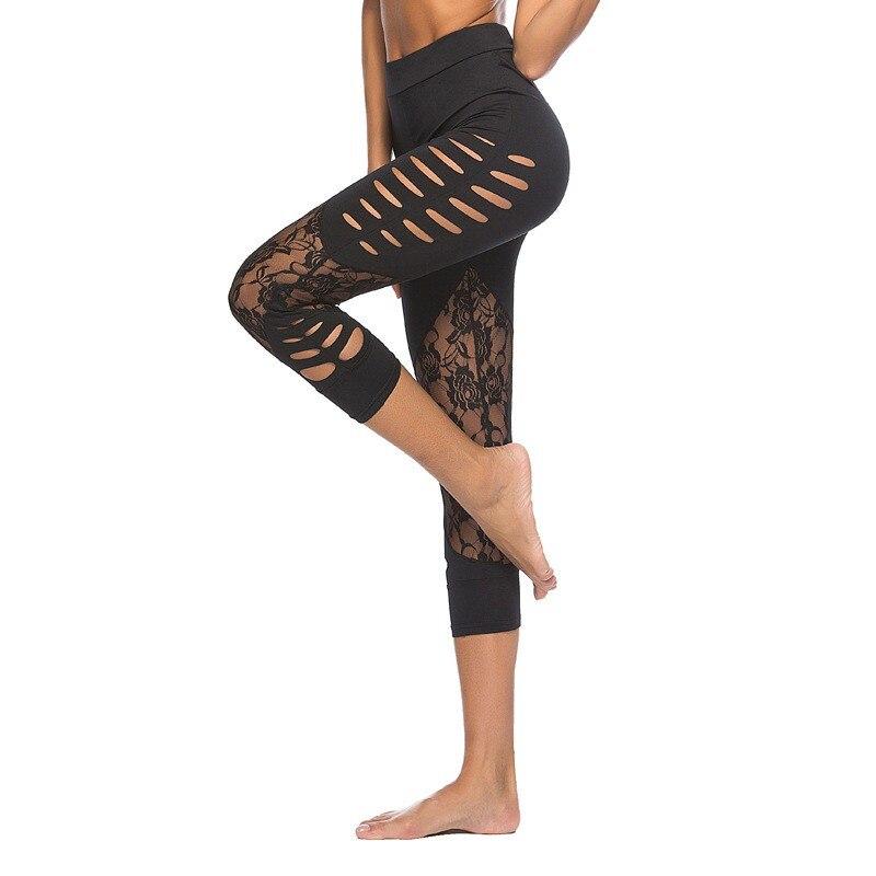 Modified body Lace Patch Hollow Leggings Women Yo-ga Fitness Leggings Pants Mid-Calf Casual Black Leggings Summer Spring