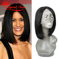 glueless lace front human hair wigs with bangs bob human hair wig short bob wigs for black women Swiss lace 130% density