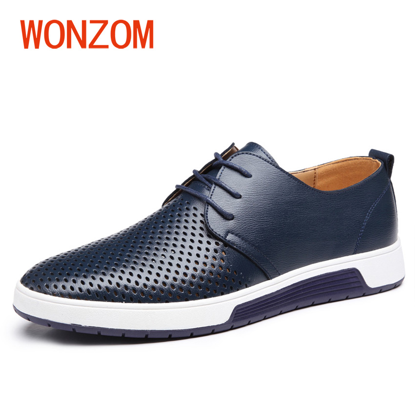 WONZOM Big Size 38-48 New 2018 Men Brand Casual Flats Shoes Genuine Leather Leisure Shoes Summer Breathable Holes Oxford For Man brand new a155 6 48 288