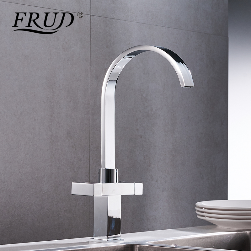 Frud Copper Material Kitchen Faucet Silver Mixer Sink Faucet Swivel Double Tap Modern Style Square Faucet Grifo Cocina Y40023