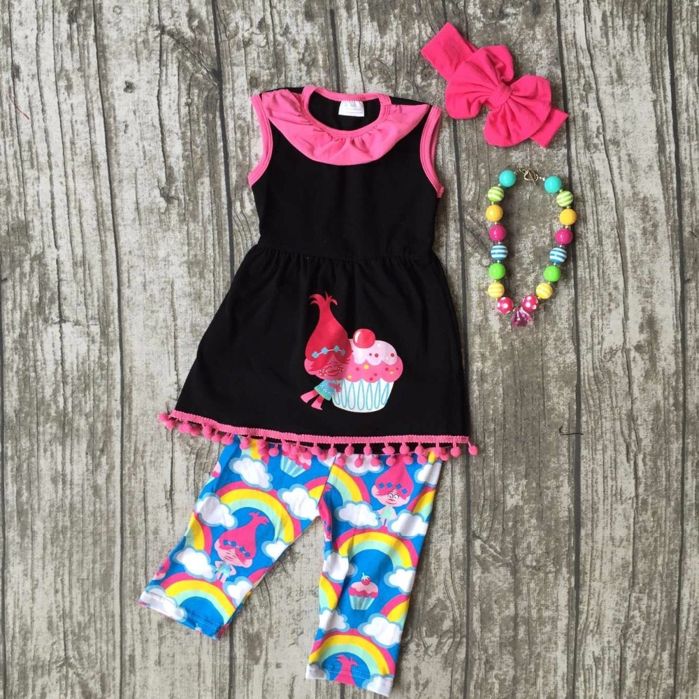 baby girls capris sets boutique outfit summer troll cake black cotton clothes pom pom rainbow macth match accessories sleeveless