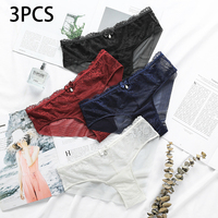 Women Panties Sexy Floral Lace Rhinestone Decoration High Quality Cotton Low Waist Comfort Low Rise Ruffles Sexy Lingerie