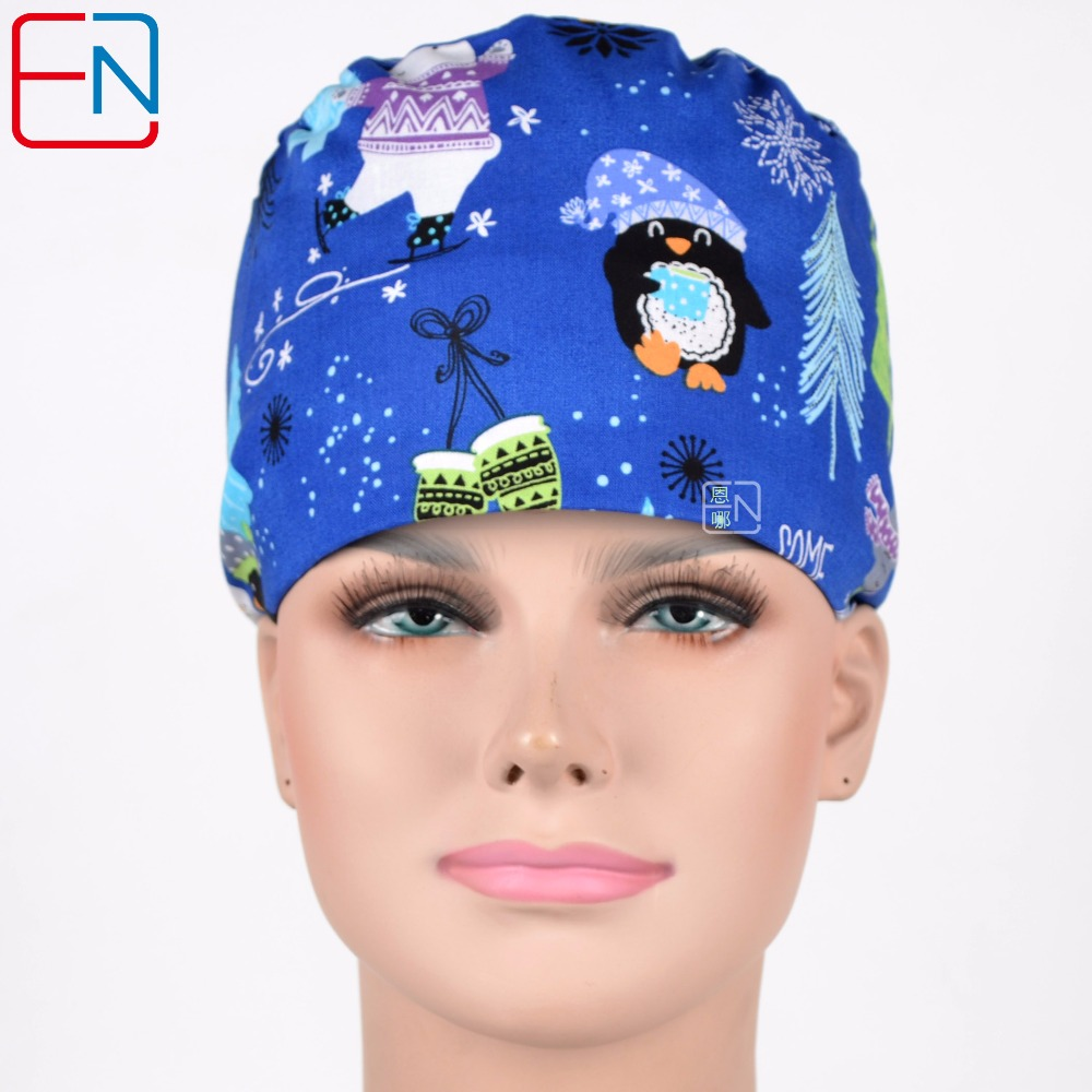 Women Medical Caps In Blue  Christmas Gift Surgical Caps.hennar Surgical Caps ,christmas Gift Dentist Cap