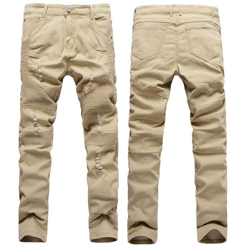 ФОТО Top Quality Mens Khaki Biker Jeans Men Pleated Destroy Wash Denim Skinny Jeans Men Male Ripped Jeans Slim Fit Hip Hop 34 36 32