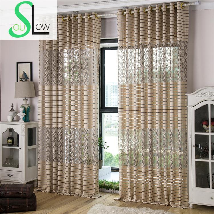 Slow Soul Gray Beige Jacquard Transparent Curtain Pastoral