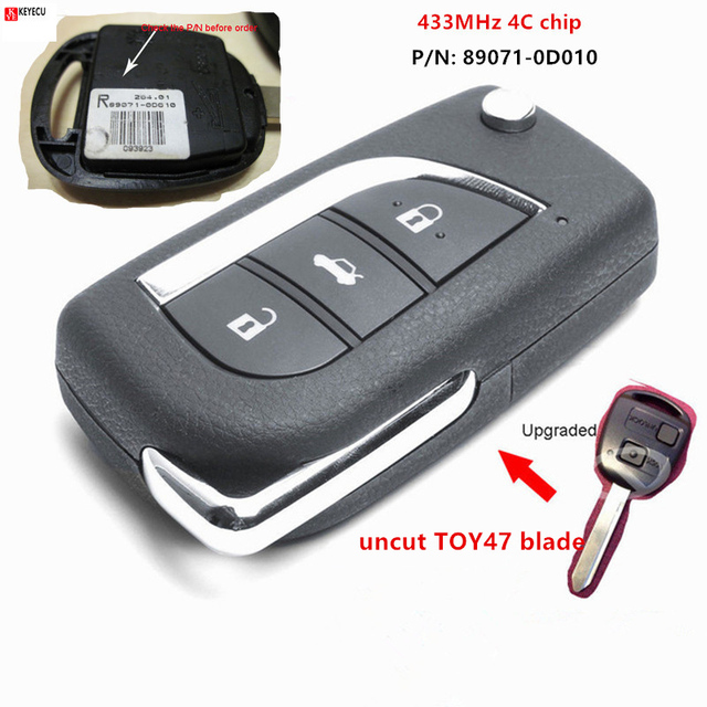 Keyecu는 Toyota Yaris Avensis Corolla Carina P/N 89071-0D010 용 433MHz 4C 칩 원격 키등을 업그레이드했습니다.