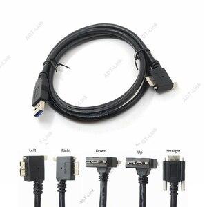 Image 1 - USB 3.0 b 90도 오른쪽 & 왼쪽 및 위 & 아래 각도 마이크로 B USB 3.0 잠금 나사 마운트 데이터 케이블 1.2 m 3 m 5 m