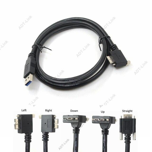 USB 3.0 b 90도 오른쪽 & 왼쪽 및 위 & 아래 각도 마이크로 B USB 3.0 잠금 나사 마운트 데이터 케이블 1.2 m 3 m 5 m