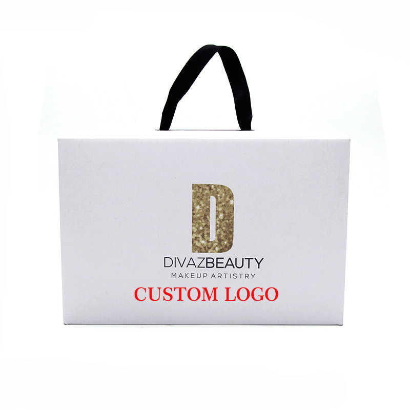 Customized Printed Logo Shoe Box Wig Hair Box Can Be Customized Logo Brand  Black/Brown/White Portable Rope