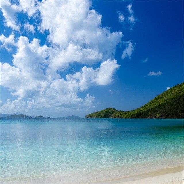 Laeacco Estate Cielo Nuvoloso Soleggiata Spiaggia Del Mare Paesaggio