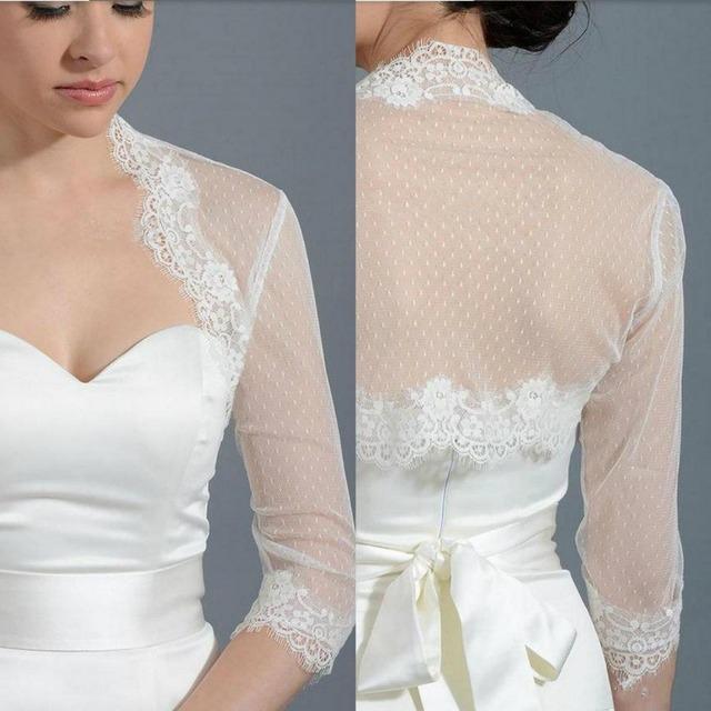 Elegante Bolero de Casamento Casacos Wraps Nupcial Do Casamento Do Laço Curto Retro Lace Tulle Praia 3/4 Vestidos de Manga Longa Para O Casamento