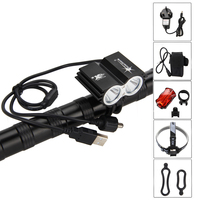 High Quality LED 6000LM 2xCREE T6 Head Front Bike Bicycle Light Headlamp 4x18650 Taillight