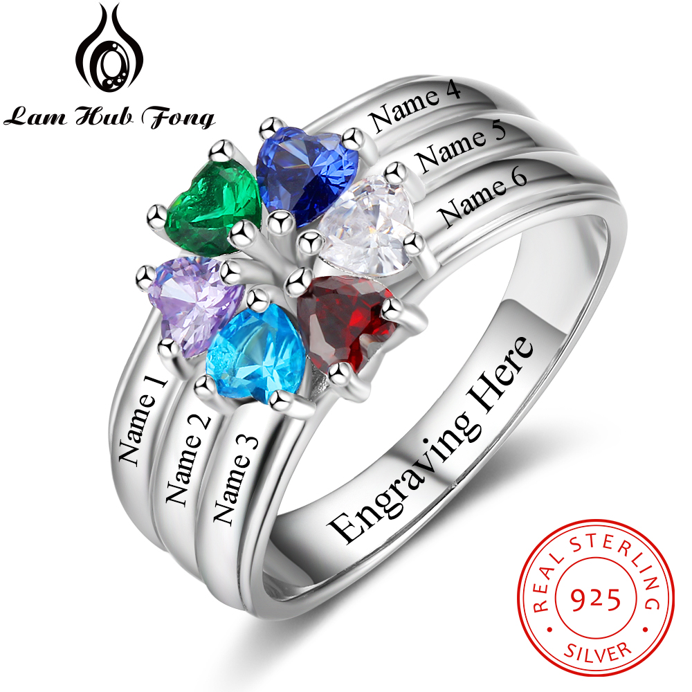 Personalized Mothers Ring 925 Sterling Silver 6 Heart Birthstone 6 Name Wedding Engagement Rings Fine Jewelry Gift(Lam Hub Fong) personalized birthstone ring 925 sterling silver heart stones engrave name jewelry engagement gift mother rings ri101793