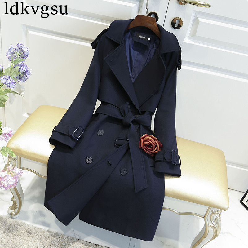 2019 New Women Casual Coats Spring Autumn Fashion Turn Down Collar Double Breasted Overcoat Plus Size Loose   Trench   Coats V335