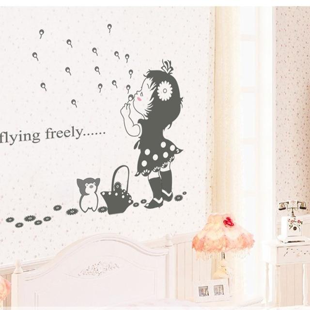 Nettes Mädchen Wandaufkleber für Kinderzimmer Wanddekor Kinderzimmer ...