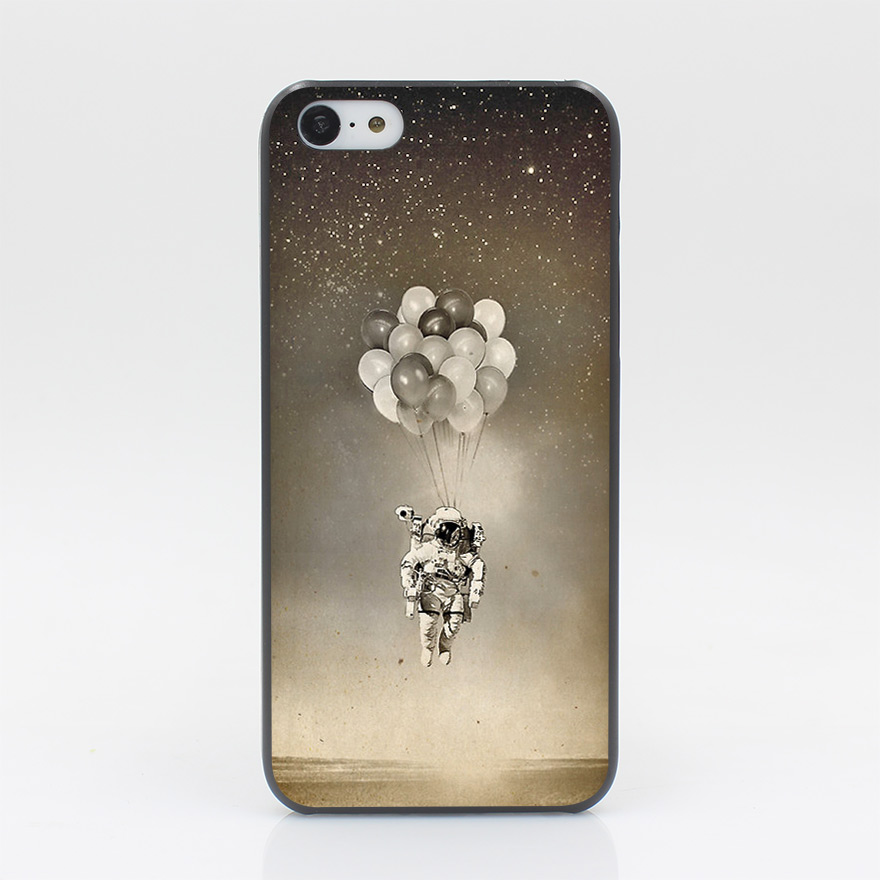 1171CD The Spaceman Hard Black Case Cover for iPhone 4 4s 5 5s 5c SE 6 6s Plus Print