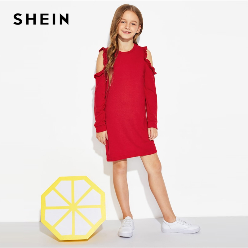 SHEIN Kiddie Red Solid Cold Shoulder Frill Cute Girls Dress 2019 Summer Long Sleeve Cut Out Mini Kids Dresses For Girls Clothing beige lace up design cold shoulder long sleeves dress