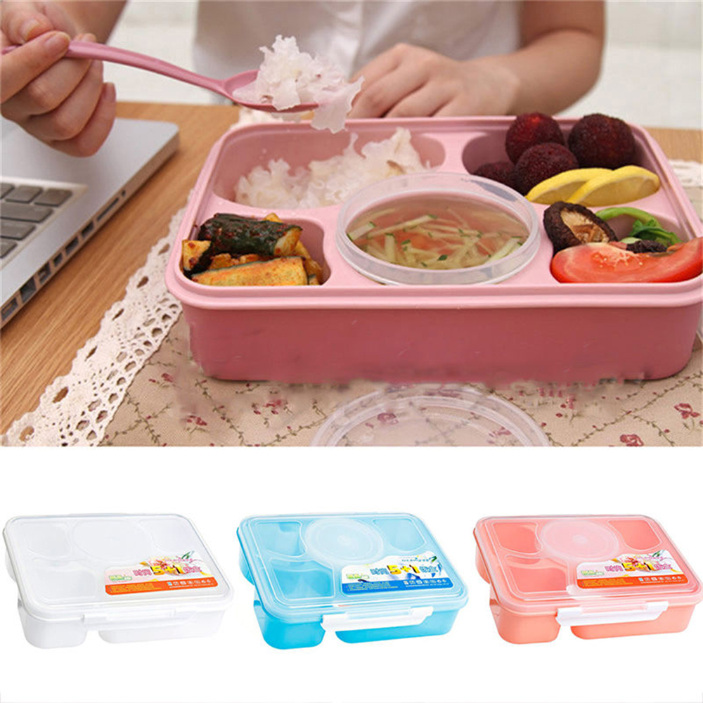 Spoon Portable Microwave Lunch Box Round Picnic Bento Food Container Storage