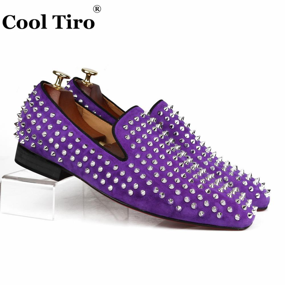 COOL TIRO Studded Stuts Spikes Men Loafers Purple Suede Slipper Casual Shoes Wedding Party Men Dress