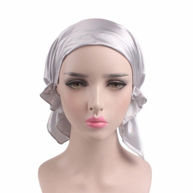 Women S Ladyfashion Solid Color Silk Night Sleep Cap Long Hair Care Bonnet Headwrap Hat Soft