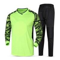 2017 Sponge Protector Soccer Goalkeeper Jersey Set Blank Football Training Suit Soccer Men Sports Kits Goalkeeper