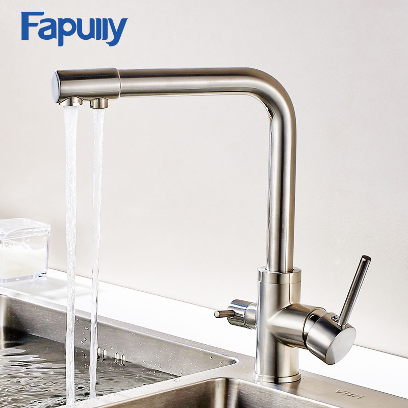 Fapully Faucet For Kitche Sink 3 Way Drinking Water Nickel Brushed Swivel Kitchen Tap Filter Mixer