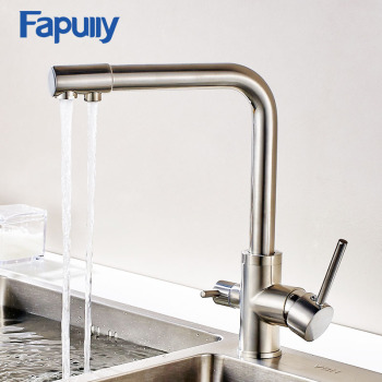 Fapully Faucet For Kitche Sink  3 Way Drinking Water Nickel Brushed Swivel Kitchen Tap Filter Mixer Water Kitchen Faucets 176-33