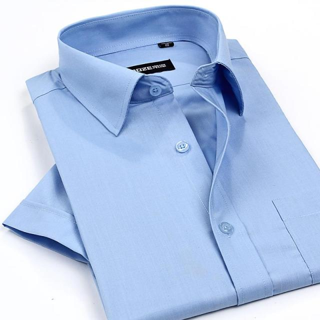2015 men's short sleeve dress shirts solid business formal shirt for man hight quality white shirt men 7 colors