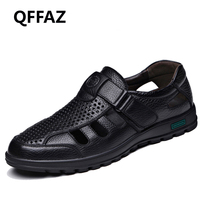 QFFAZ Genuine Leather Men Sandals Shoes Fretwork Breathable Fisherman Shoes Style Retro Gladiator summer men Business shoes