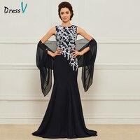 Платье голубое длинное платье для матери невесты, платье с глубоким вырезом и кружевными цветами, элегантное платье для свадебной вечеринк