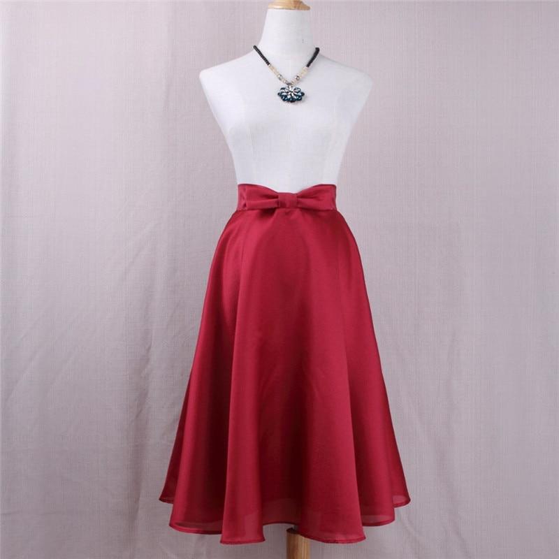 Women Vintage High Waist Skirt Solid Bow Midi Skirts Autumn Summer Big Elegant Girls