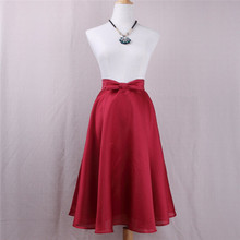 Women Vintage High Waist Skirt Solid Bow Midi Skirts Autumn Summer Big Bow Elegant Girls Skirt