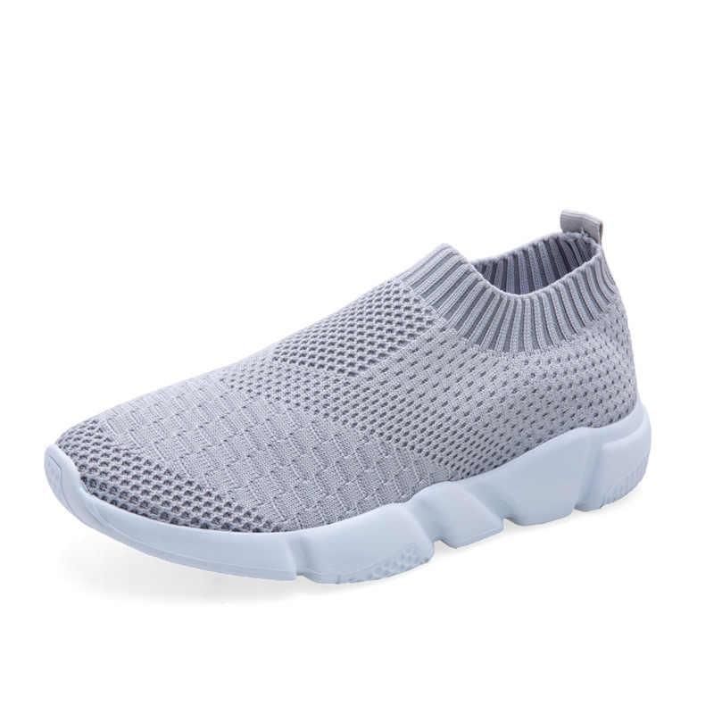 95125963ec2c1 2019 New Women Sneakers Flyknit Women Breathable White Shoes Slip On ...