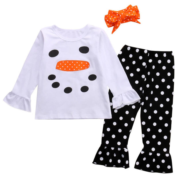 c122258a14 3 STÜCKE Set Weihnachten Kinder Kleinkind Mädchen Schneemann Rüschen  Langarmshirts T-shirt + Polka Dot