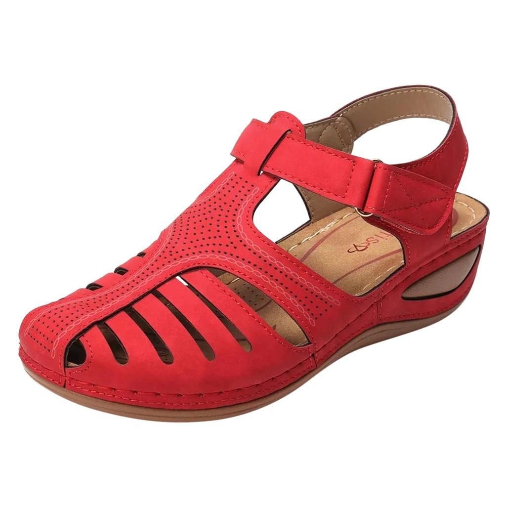 HTB1u4DheA9E3KVjSZFGq6A19XXaz Women's Sandals Summer Ladies Girls Comfortable Ankle Hollow Round Toe Sandals Female Soft Beach Sole Shoes Plus Size C40#