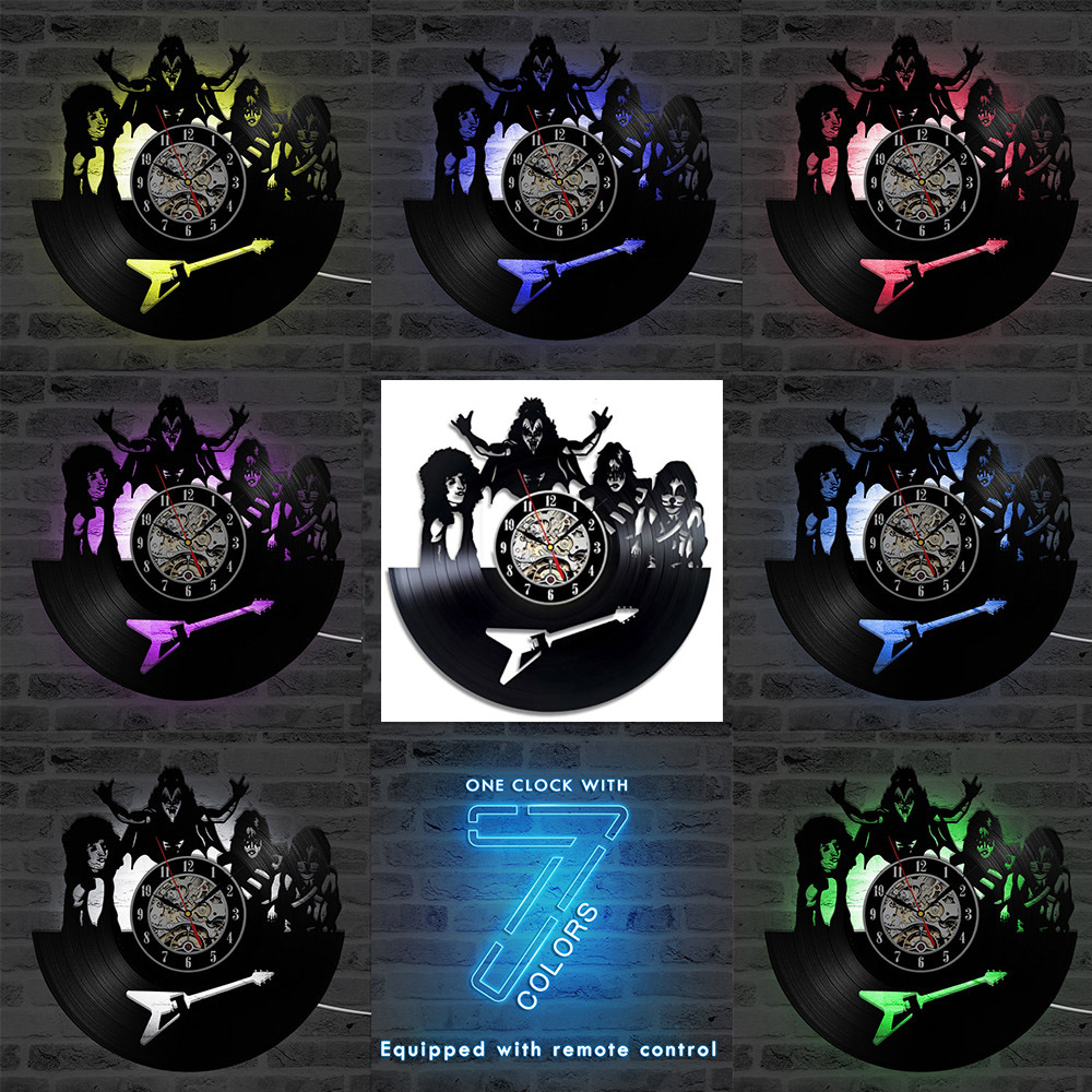 Image 5 - Vintage Vinyl Record Wall Clock with Seven Different Colors Change Music Theme KISS Rock Band LED Clocks Wall Watch 12 inchWall Clocks   -