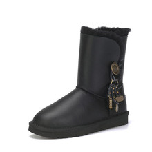Womens Boots Sheepskin Australia Winter Fur No Wool Crystal-Button Mid Non-Slip New-Arrival