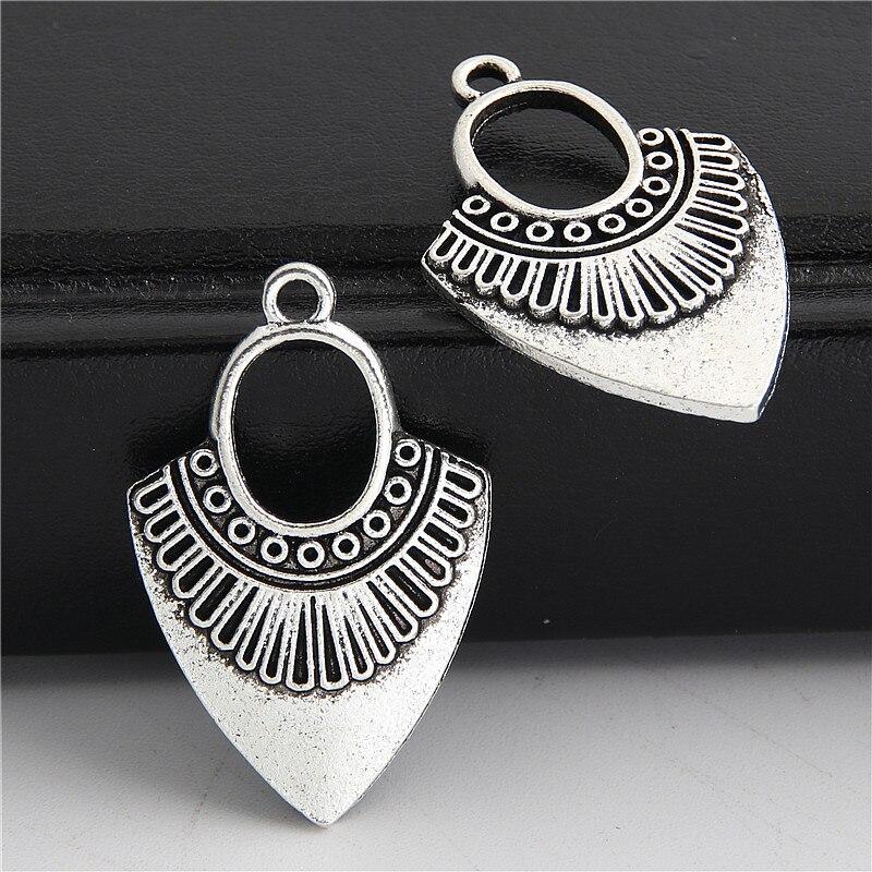 10 Stücke Antike Silber Geometrische Earing Charme Mit Loch Für Frauen Anhänger Trendy Finden Schmuck Zubehör 31,5x20,5mm A3029 Volumen Groß