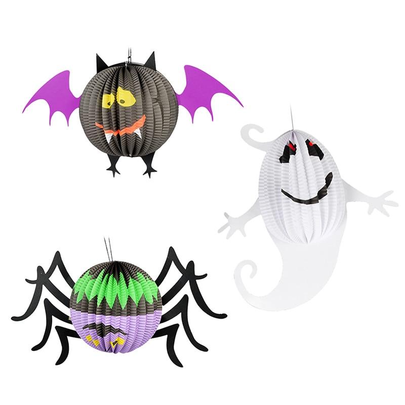 Halloween Pumpkin Ghost Bat Spider Witch Paper Hanging