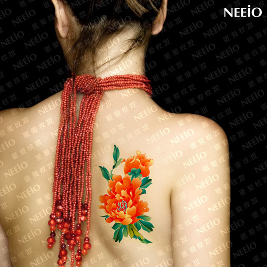 temporary tattoo orange peonies flower back leg body scar tattoo stickers waterproof women high quality health design