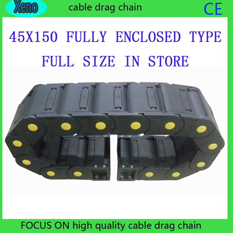 Free Shipping 45x150 10 Meters Fully Enclosed Type Plastic Cable Drag Chain Wire Carrier 18 x 50mm 1m semi enclosed type drag chain wire carrier black