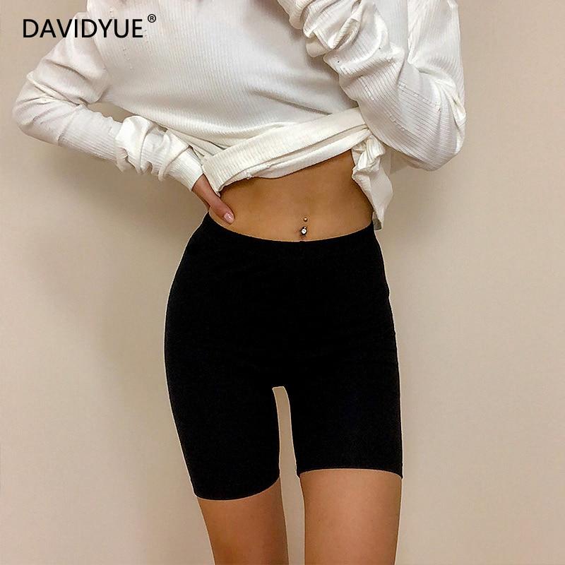 Fall High Waist Shorts Women Elastic Waist Biker Shorts Knee Length Casual Cotton Pink Black Shorts 2018 Korean Women Clothes