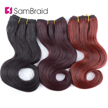 hot deal buy sambraid 8 inch short afro body wavy synthetic hair extensions blended hair weaves ombre hair wefts for women 3pcs/pack